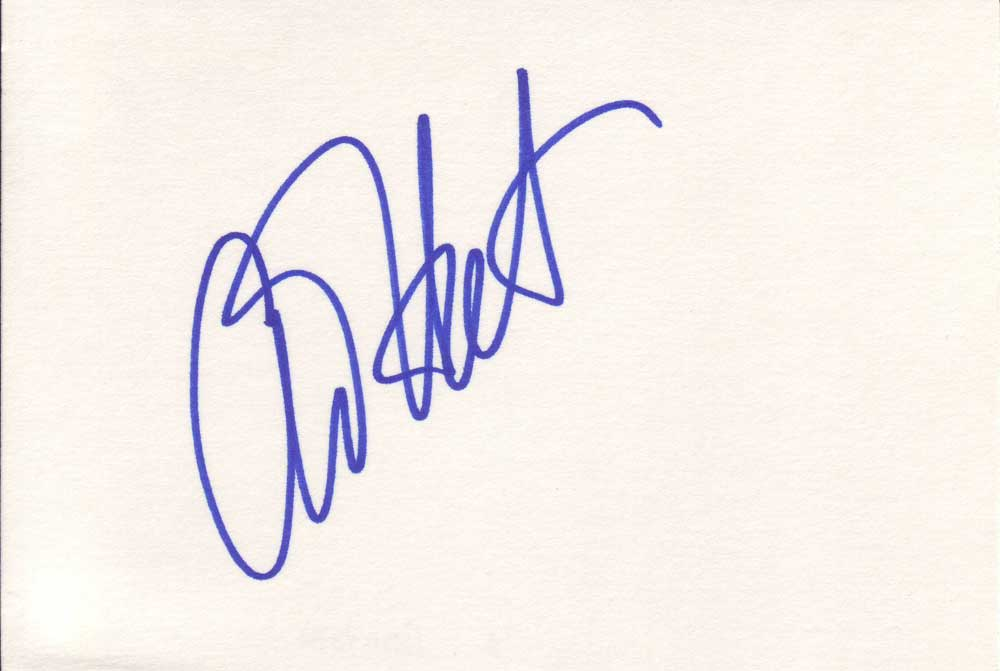 Anjelica Huston in-person autographed index card