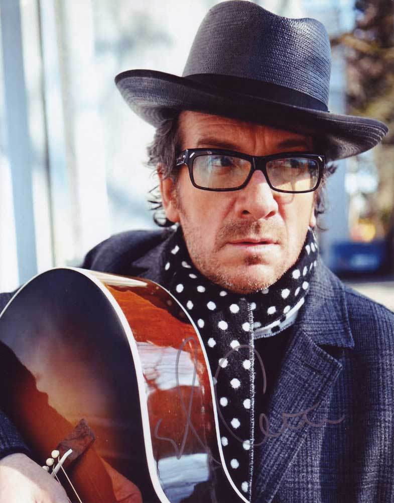 elvis costello in person autographed photo. Black Bedroom Furniture Sets. Home Design Ideas