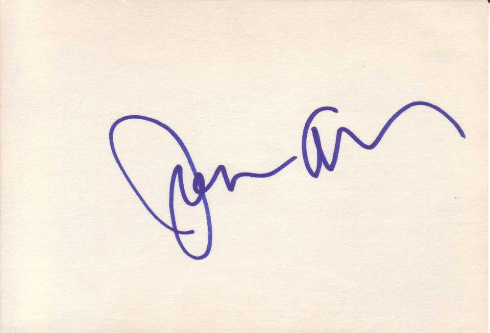 Joan Allen Autographed Index Card