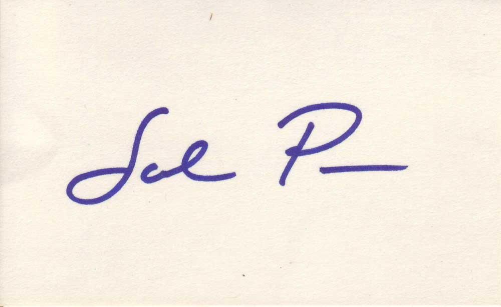 Sal Piro autographed 3 x 5 index card