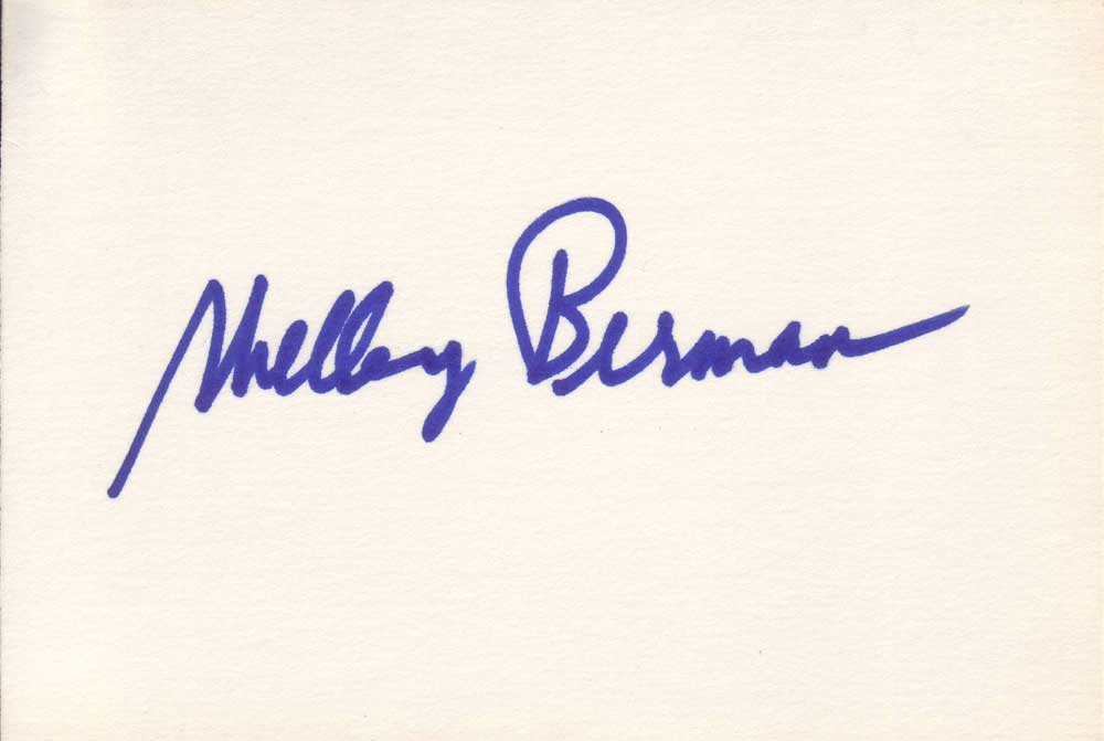 Shelley Berman Autographed Index Card