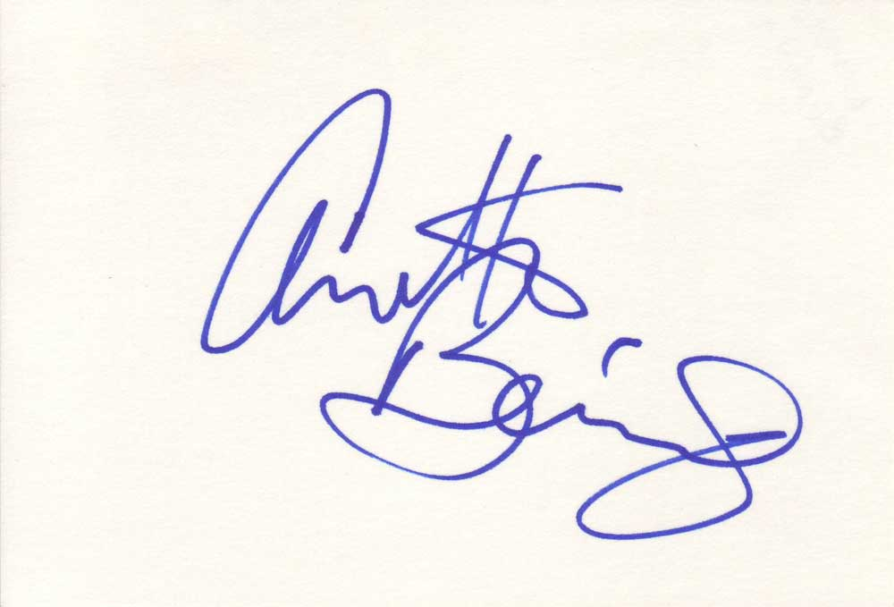 Annette Bening Autographed Index Card