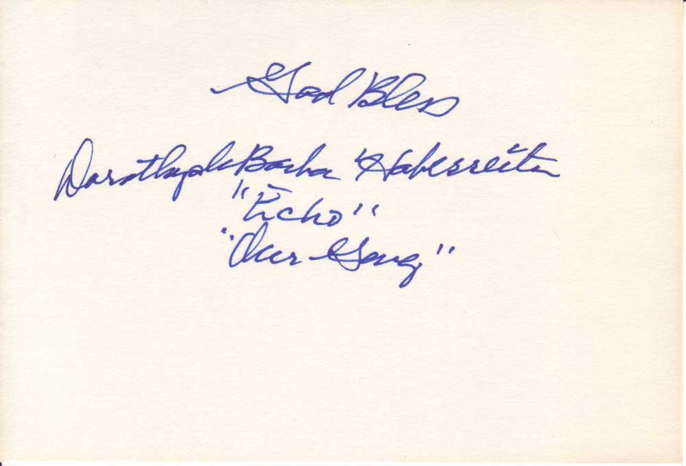 Dorothy DeBorba Autographed Index Card