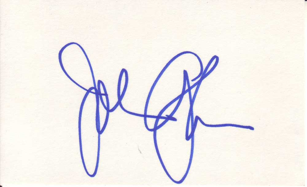John Glover autographed 3 x 5 index card