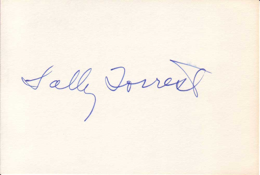 Sally Forrest Autographed Index Card
