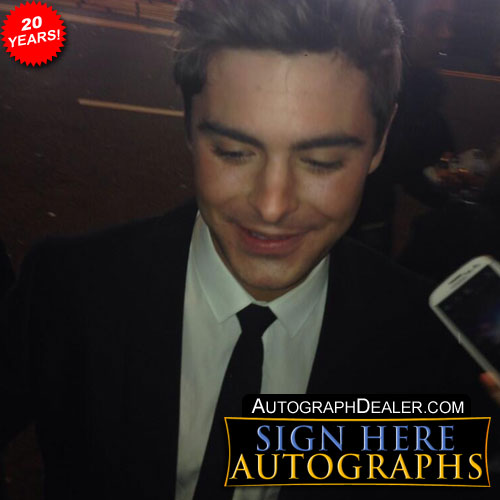 Zac Efron in-person autographed photo