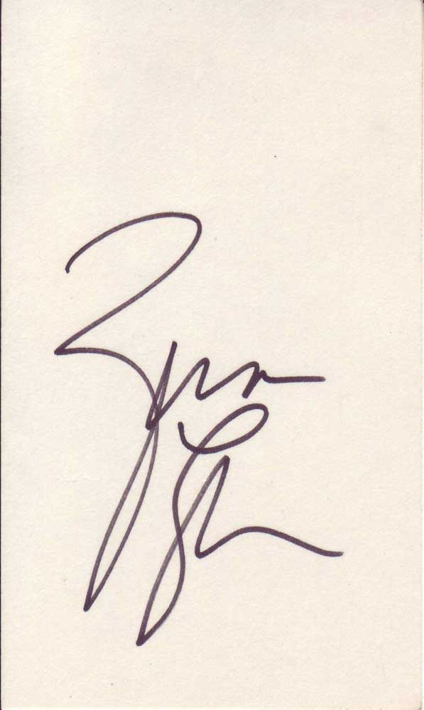 Zina Garrison autographed 3 x 5 index card